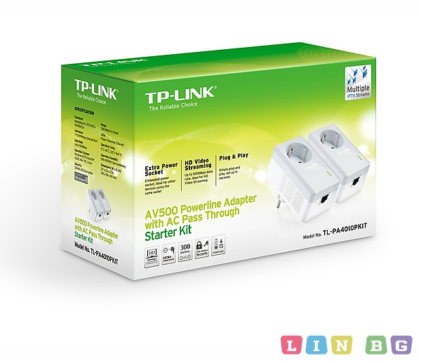 TP LINK TL PA4010PKIT AV500 Powerline Адаптер with AC Pass Throught Starter Kit